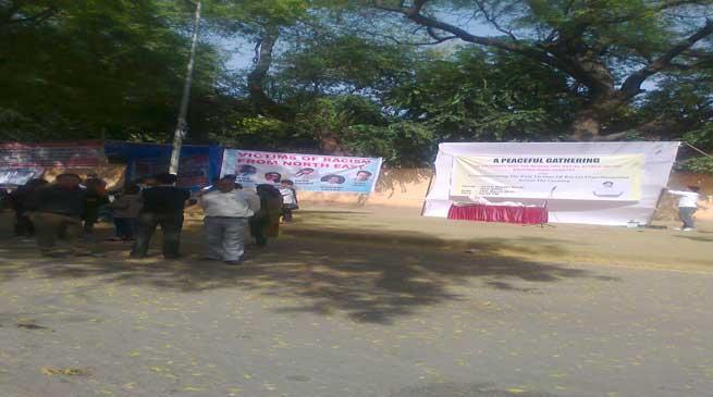 दिल्ली में पूर्वोत्तर के छात्रों का प्रदर्शन