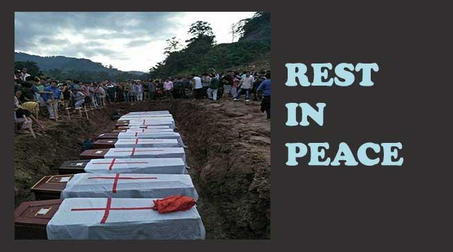 लैपताप भूस्खलन -14 शवों का अंतिम संस्कार